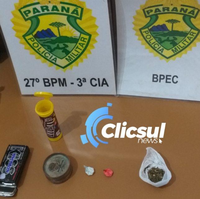 Ao atender ocorrência de Maria da Penha Polícia  encontra drogas em duas residências em São Mateus do Sul