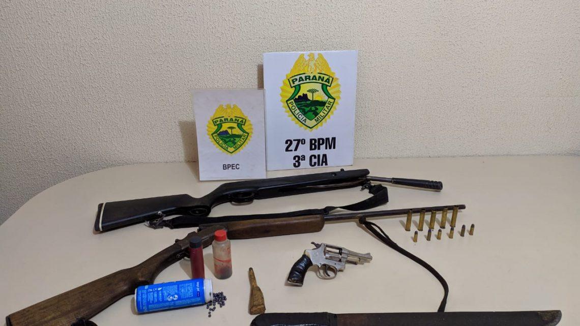 Dois homens foram presos e armas apreendidas em São Mateus do Sul