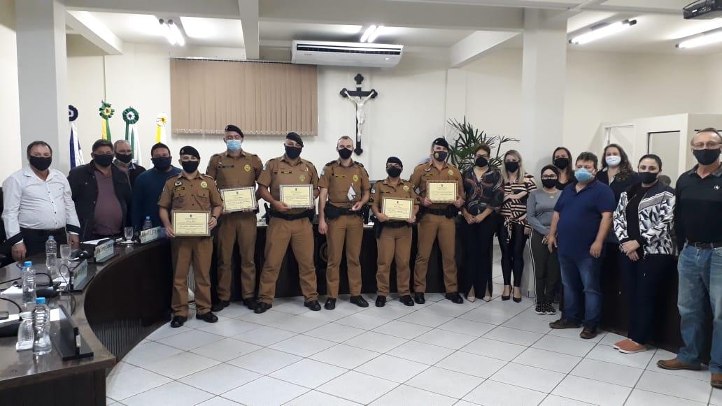 Policiais do BPEC são homenageados na Câmara de Vereadores de São Mateus do Sul