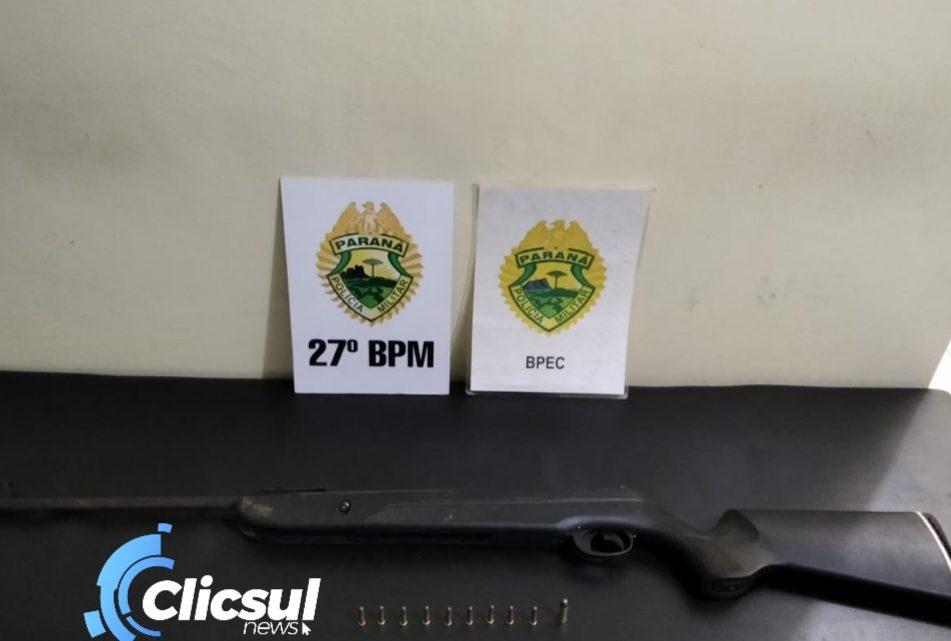 Policia Militar apreende arma de fogo e munições e prende dois indivíduos na Vila Nova em São Mateus do Sul