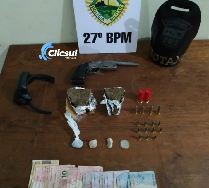 PM desmonta outro ponto de tráfico de drogas na Vila Bom Jesus e apreende arma de fogo