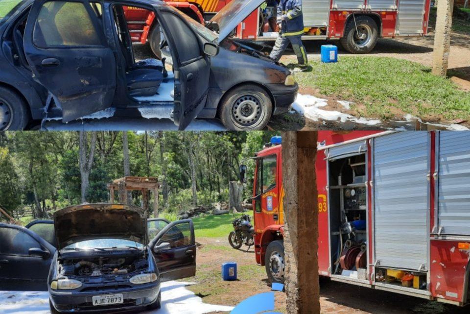 Bombeiros controlam incêndio em veículo na comunidade do Emboque