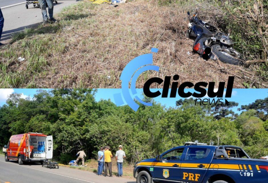 Acidente na BR 476 envolvendo motocicleta e automóvel