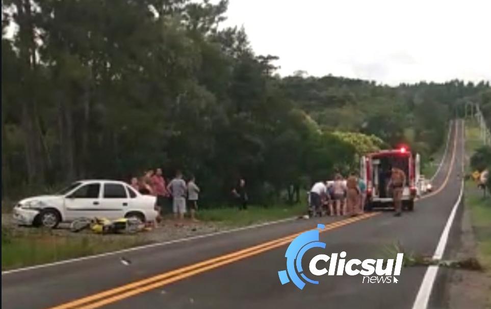 Motociclista fica gravemente ferido em acidente na PR 281 em Antônio Olinto