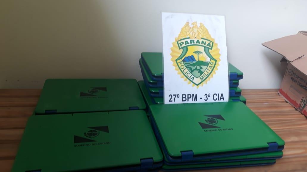 Colégio do Turvo é arrombado e produtos são furtados em São Mateus do Sul e PM recupera notebooks