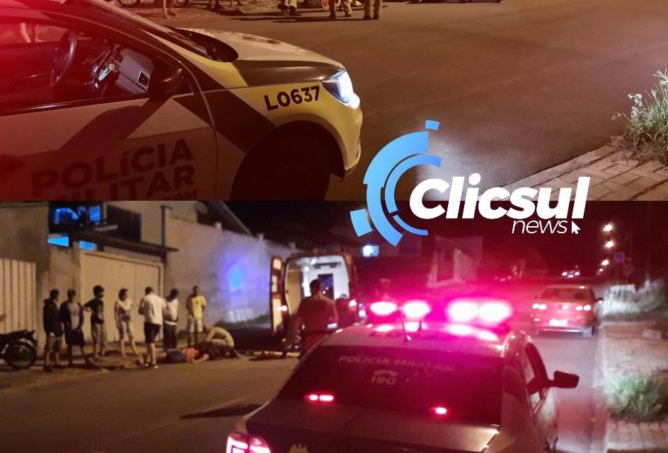 Motociclista cai após veiculo atravessar na frente e fugir sem prestar socorro em São Mateus do Sul
