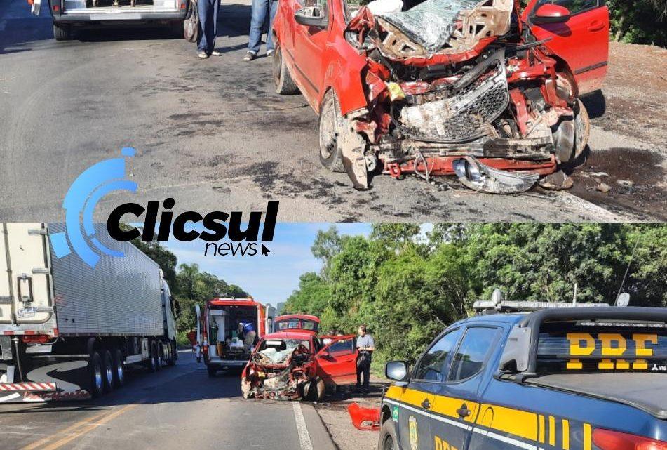 Grave acidente na BR 476 após roda se desprender de carreta em Paulo Frontin