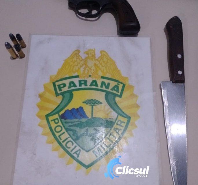 RPA prende homem após ameaçar esposa com faca e ainda localiza arma de fogo em Antônio Olinto