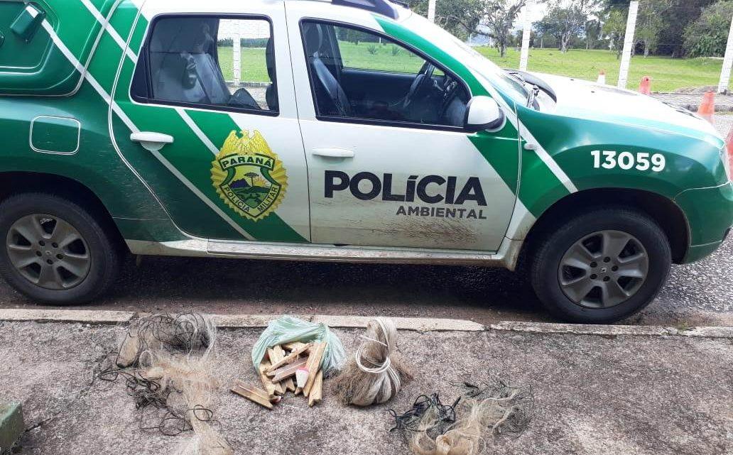POLÍCIA MILITAR AMBIENTAL APREENDE MATERIAL PREDATÓRIO NA LAPA