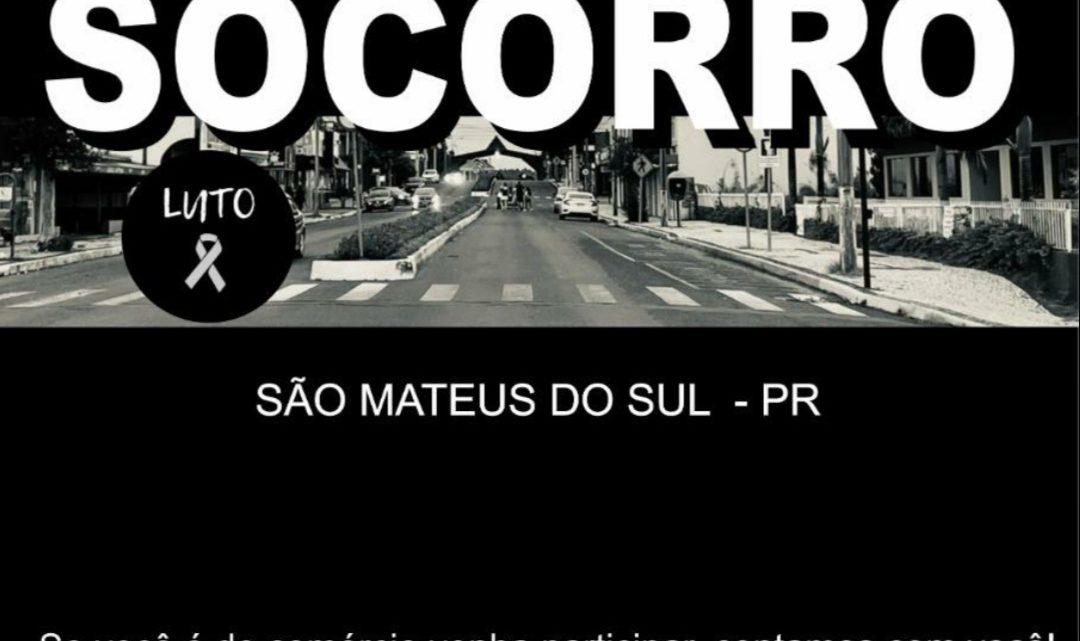 Em São Mateus do Sul esta rolando um banner de convocação para minisfestação contra do decreto Estadual de fechamento do comercio