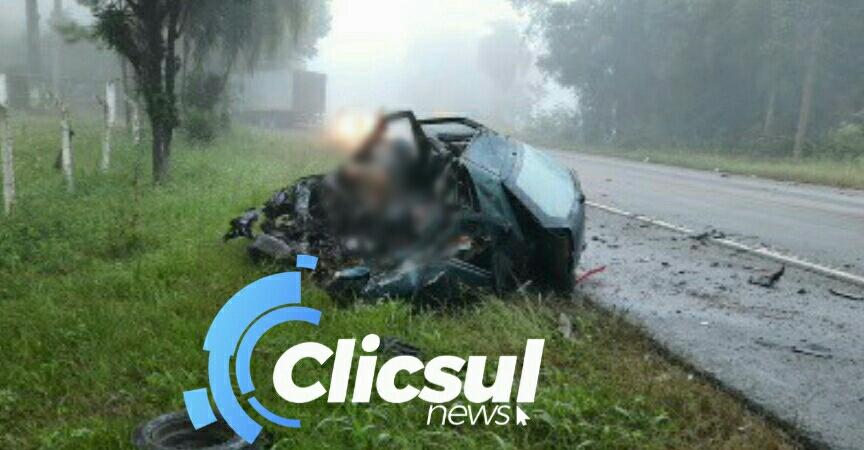 Acidente grave tira a vida de duas pessoas na BR 476 em São Mateus do Sul