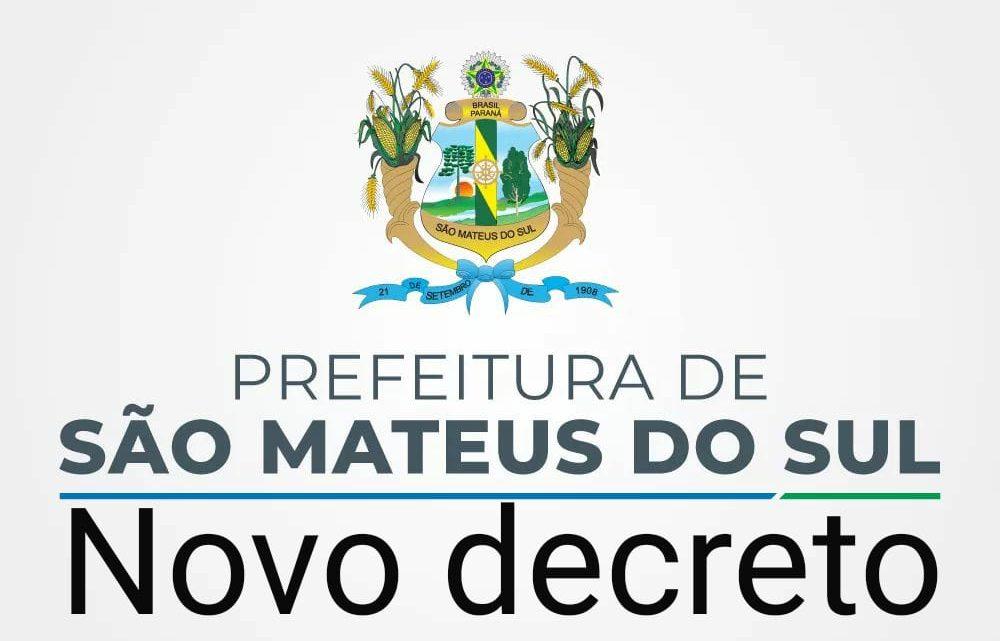 Confira o novo decreto municipal da Prefeitura de São Mateus do Sul