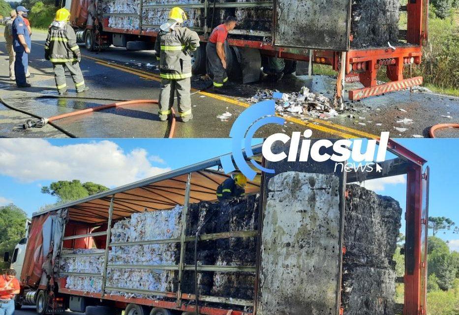 Bombeiros de São Mateus e Três Barras combatem Incêndio em caminhão na PR 151