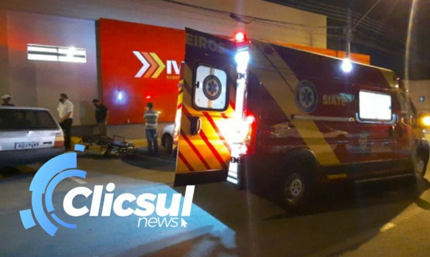 Rapaz sofre queda no centro de São Mateus do Sul