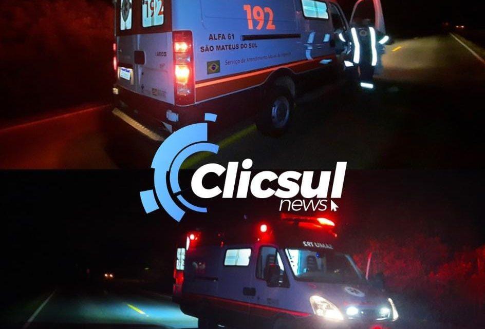 Acidente tipo saída de pista foi registrado na noite deste domingo em São Mateus do Sul