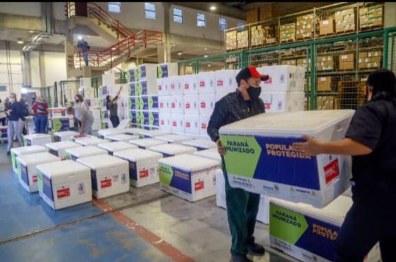 CORONAVÍRUS (COVID-19) Paraná receberá mais 309,2 mil doses de vacinas contra Covid-19