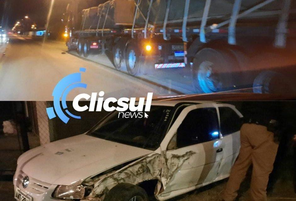 Bombeiros e PM atendem acidente próximo ao trevo de São Mateus do Sul
