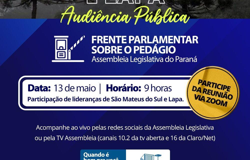 Nesta quinta-feira haverá audiência Pública sobre o pedágio na BR 476 entre São Mateus e Lapa