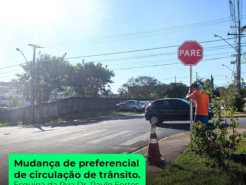Mudança de preferencial de circulação de trânsito em São Mateus do Sul