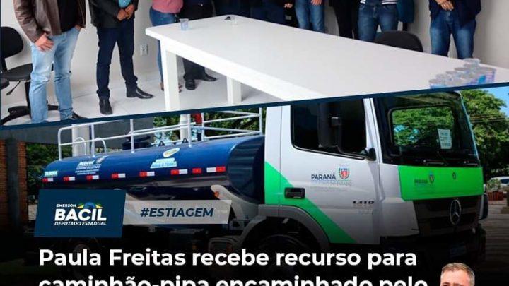Paula Freitas recebe recurso para caminhão pipa encaminhado pelo Deputado Bacil