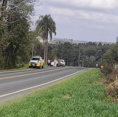 Acidente envolvendo Van e veículo acontece na PR 281 em Antônio Olinto